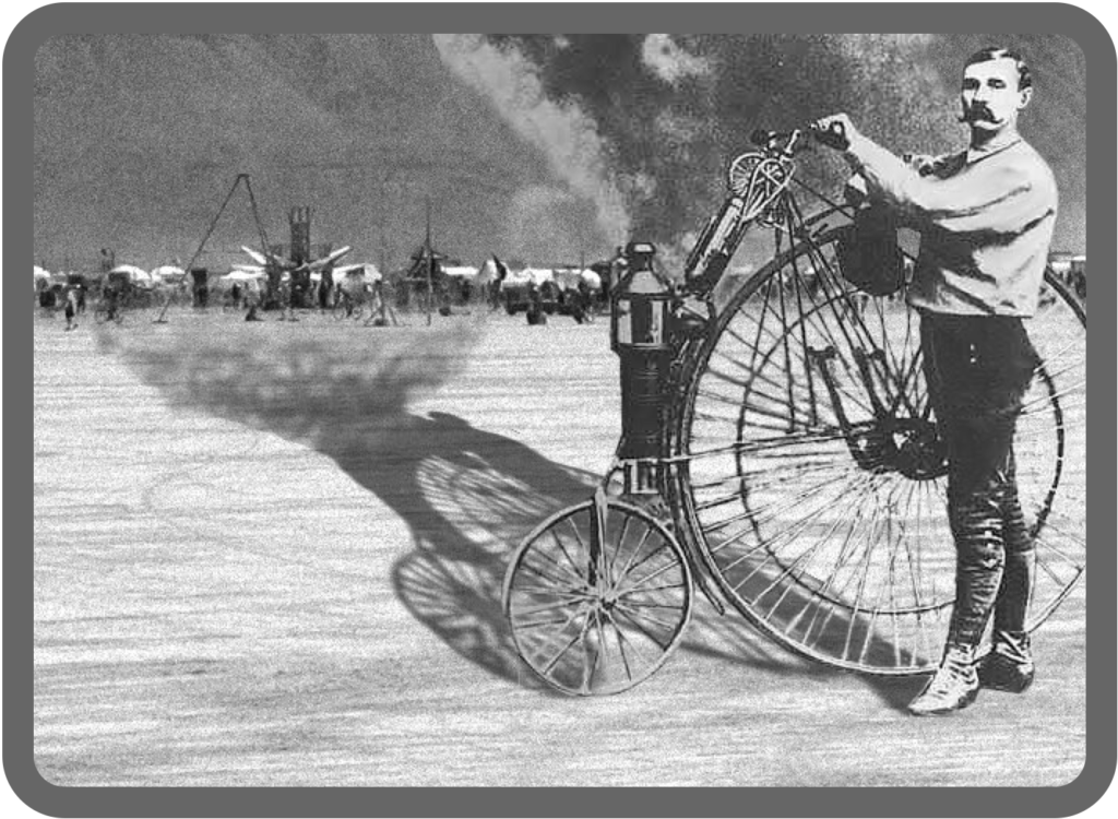 Another view of Lucius D. Copeland and his steam bicycle.